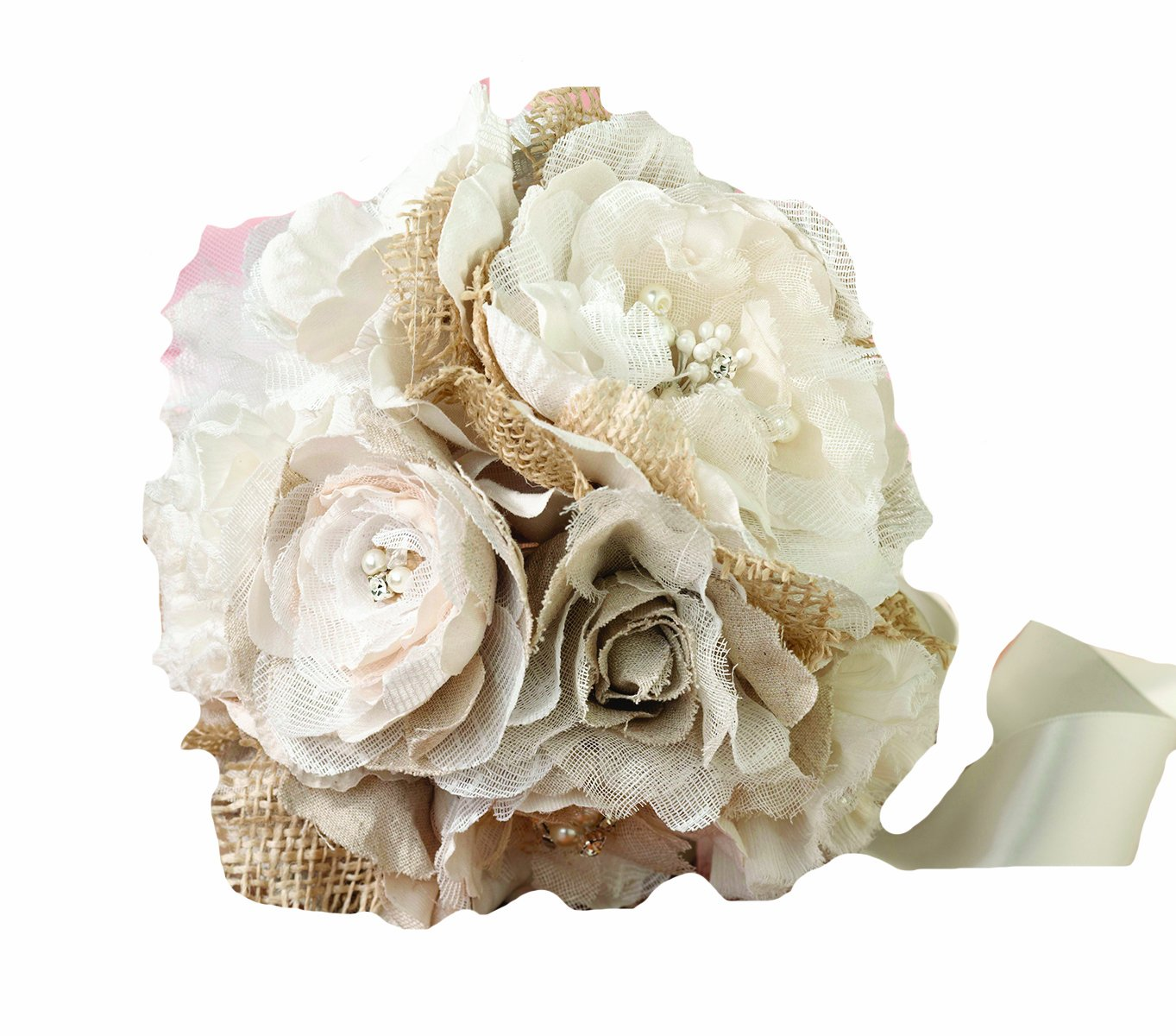 Amazon lillian rose rustic country wedding burlap flower amazon lillian rose rustic country wedding burlap flower bouquet home kitchen izmirmasajfo
