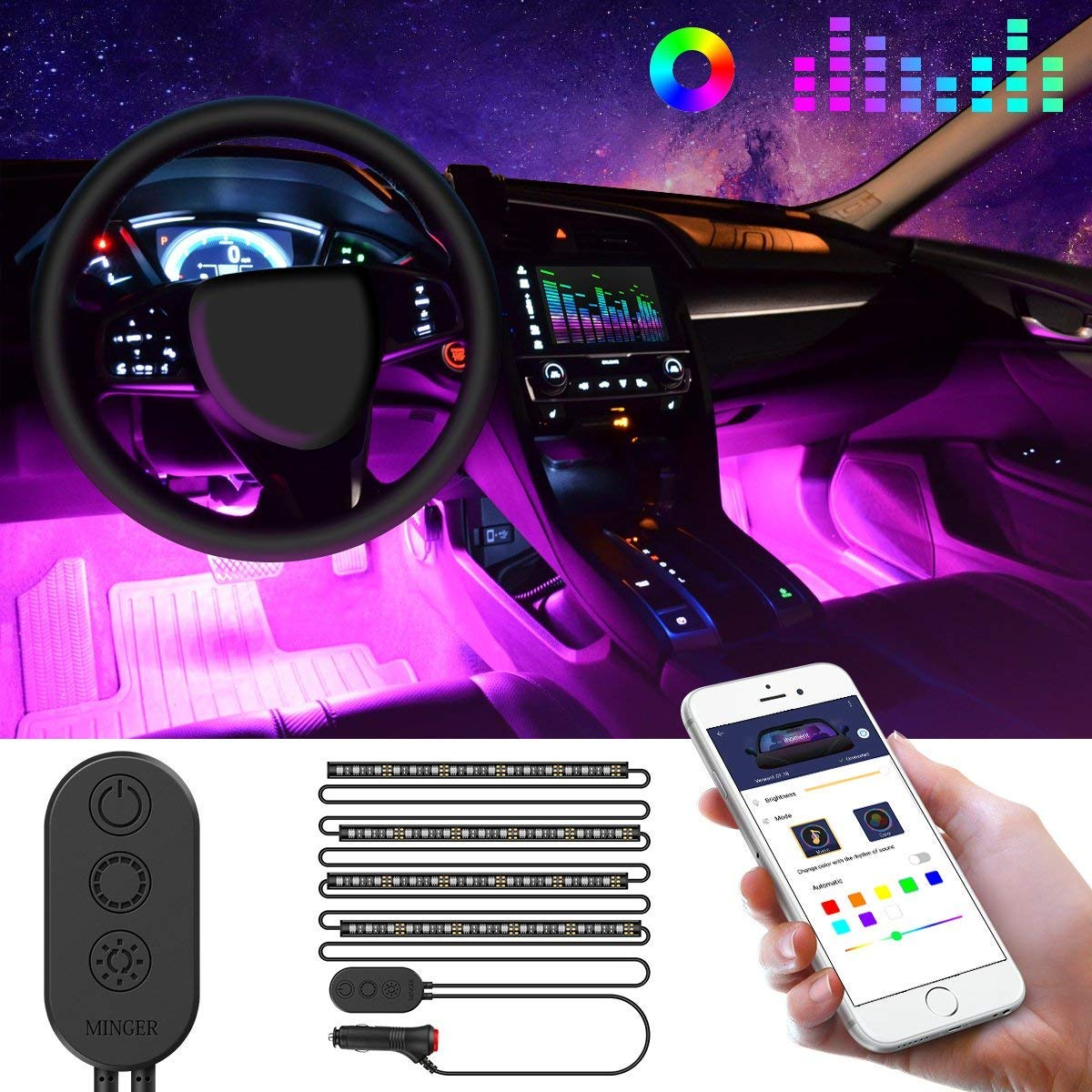 Car LED Strip Lights by APP Control, MINGER 48 LED Car Interior Lights Music Sound-activated Multi-color Under Dash Lighting Kit, Car Charger Included B0798KMJFG