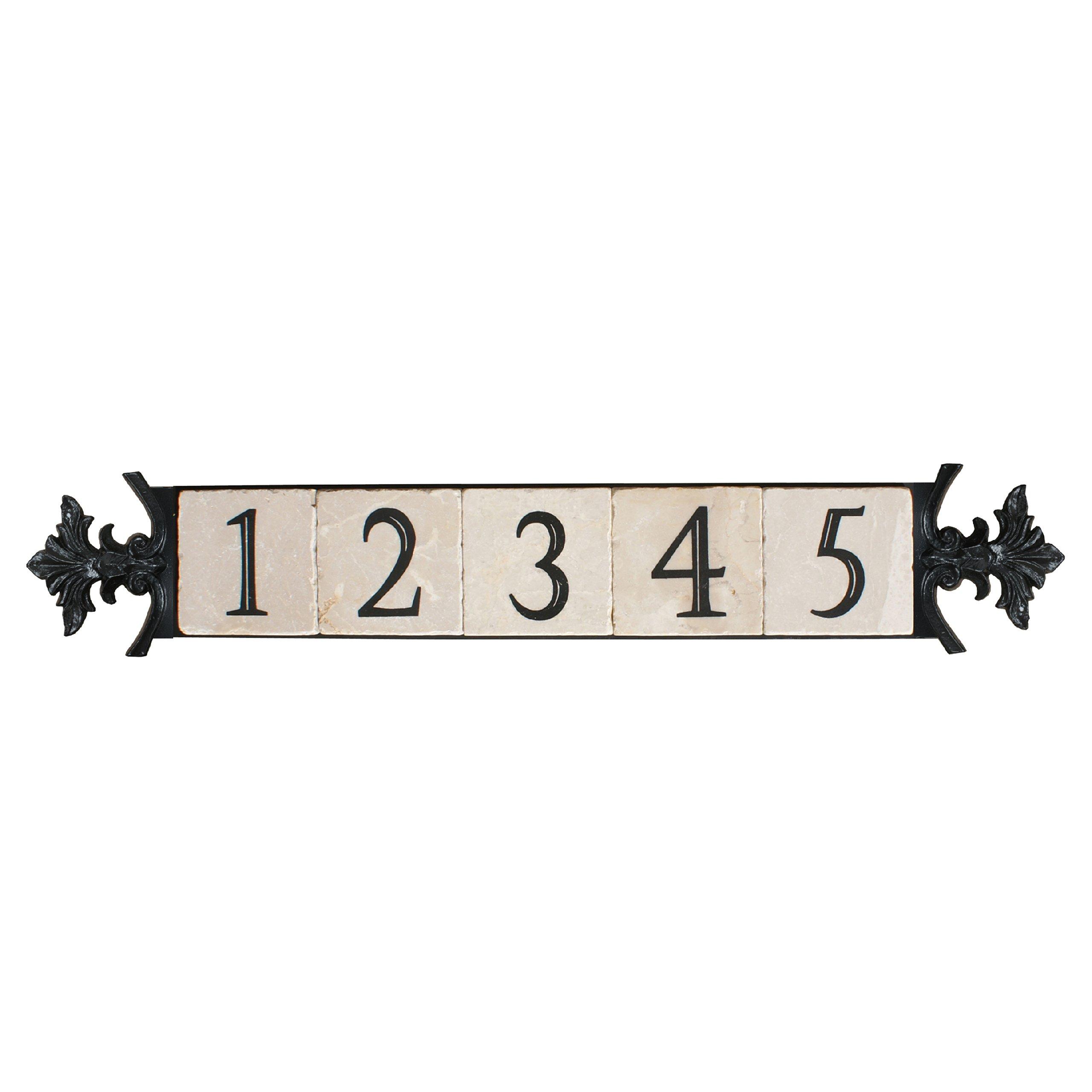 NACH KA House Address Sign/Plaque - Small Crest, 5 Numbers, Iron, 28 x 5 x 1''