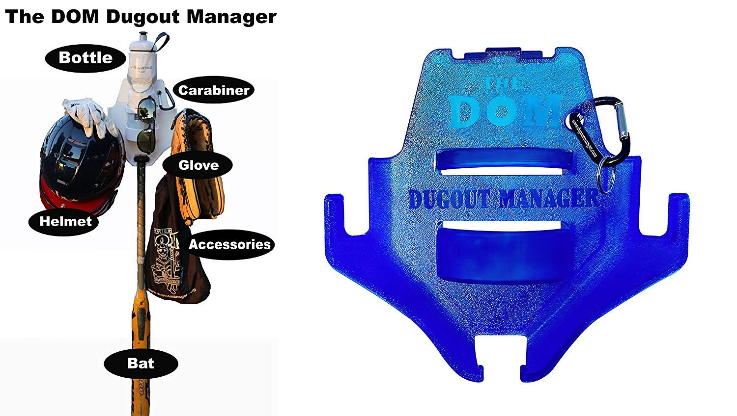 THE DOM Dugout Organizer for Softball & Baseball Gear Hanger for Bat, Glove, Helmet and Bottle of Water (13 Count) (Blue) by THE DOM