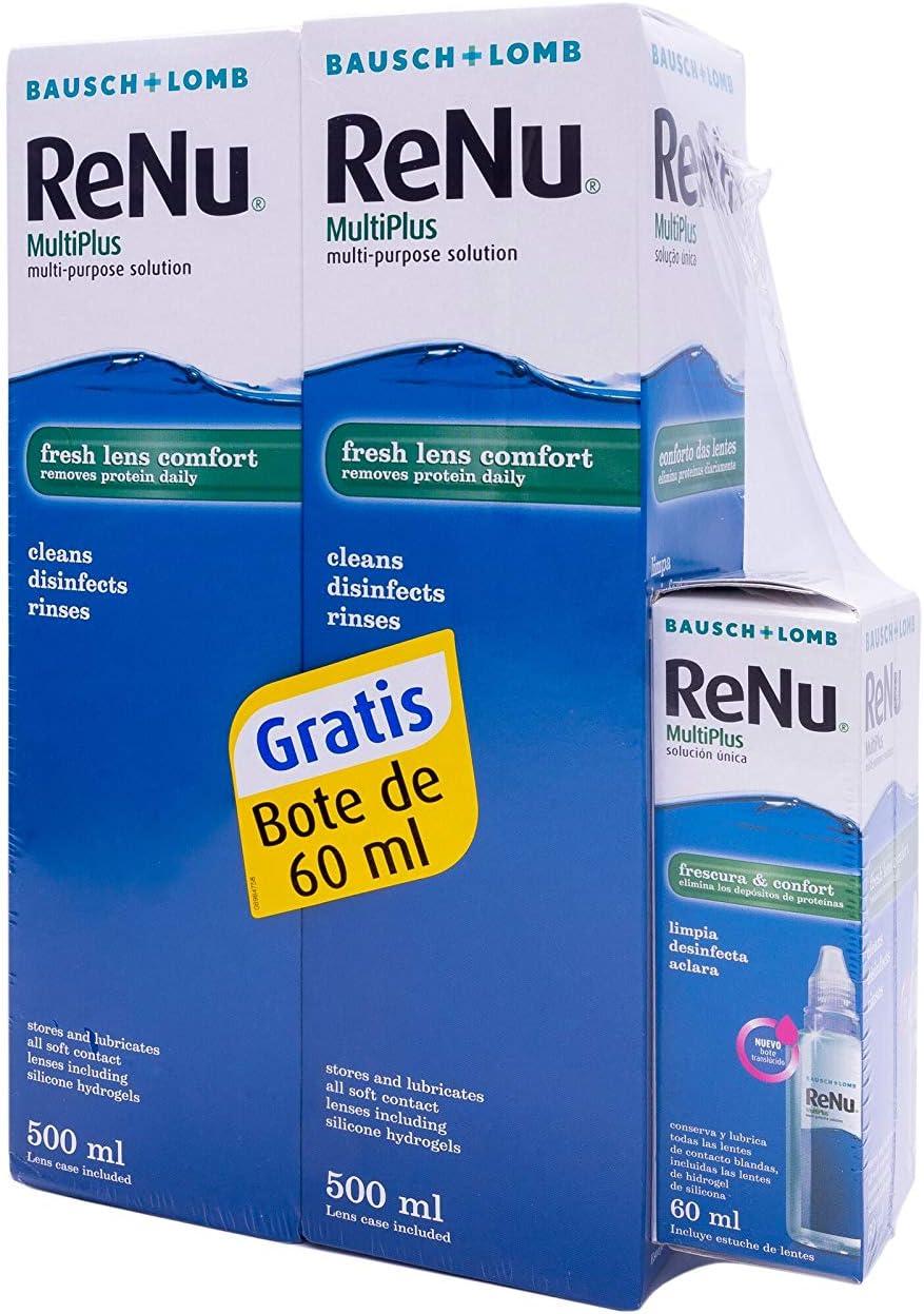 BAUSCH + LOMB - Renu® MultiPlus Solución de Mantenimiento - Pack 2 botellas x 500 ml y 60 ml de regalo: Amazon.es: Salud y cuidado personal