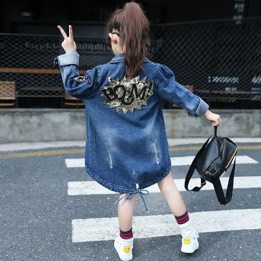 SXSHUN Giacca di Jeans Moda Bambina Giacca Denim Lunga Asimmetrica per Primavera
