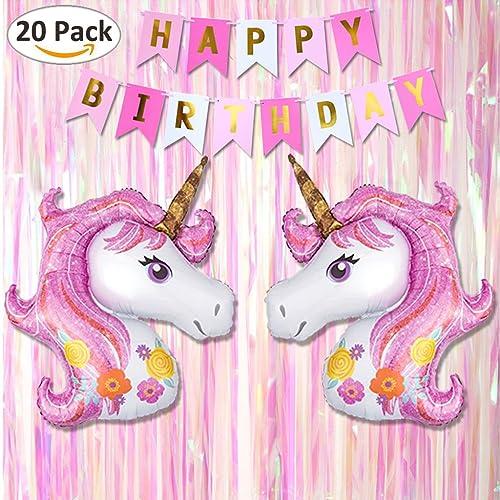 Tumao Thème de Licorne, Fête d'anniversaire Décoration, Pour Fille d'anniversaire,Contenir le Papier Bannière - HAPPY BIRTHDAY, Nouveau Conception Rose Licorne Ballon et Fête Étape Ride