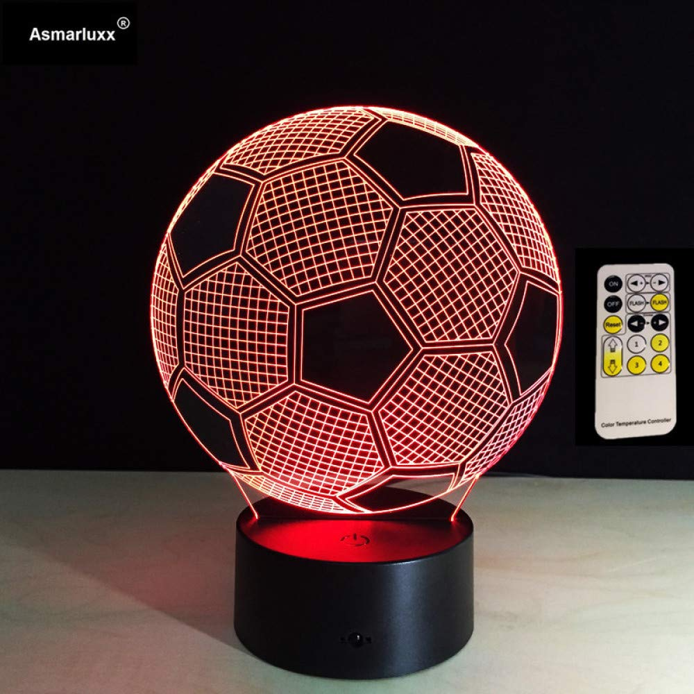 BFMBCHDJ Lámpara de fútbol 3D Illusion Control remoto o táctil LED ...