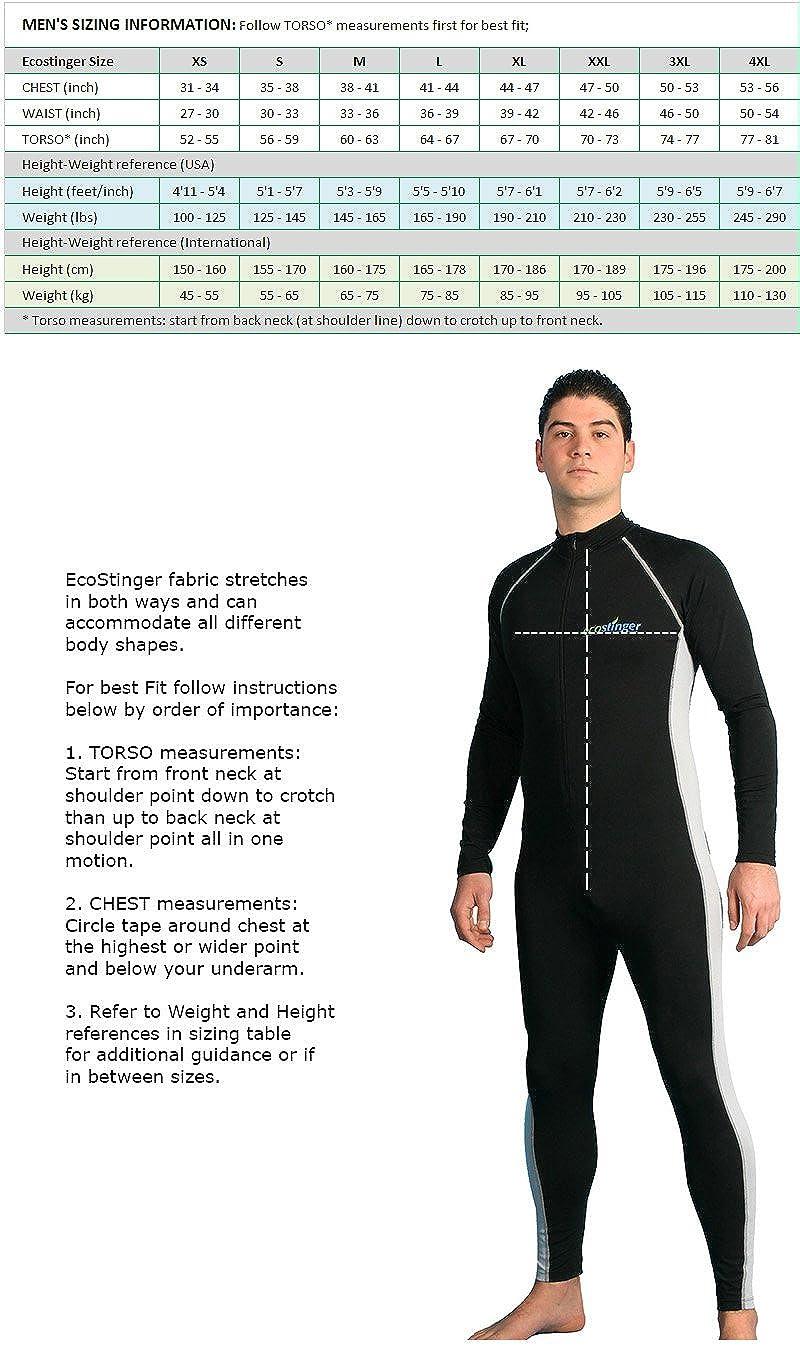 Men UV Protection Swimwear Full Body UV Stinger Swim Suit Dive Skin Black Silver