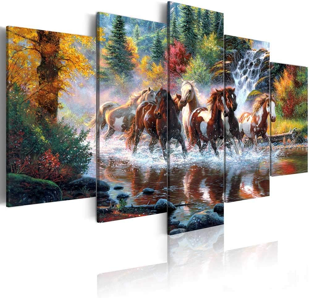 ArtHome520 Golden Landscape Home Decor Canvas Print Painting Colorful Animal Horse Picture Wall Art Contemporary Framed Ready To Hang 5 Panel (8''x12''x2+8''x16''x2+8''x20''x1)
