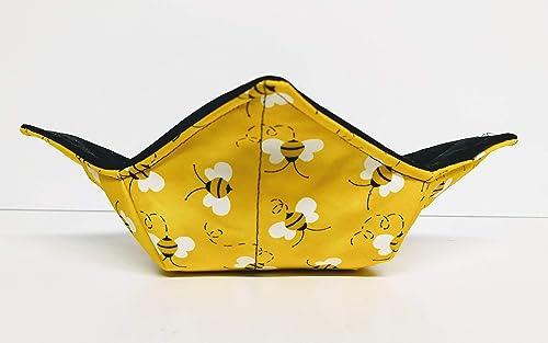 Bowl cozies; novelty bowl cozies; kitchen decor; bee decor; quilted bowl cozies; fun patterned bowl cozies