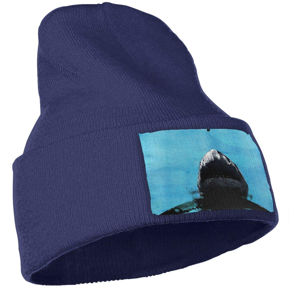 Horror Shark Hat for Men and Women Winter Warm Hats Knit Slouchy Thick Skull Cap Black