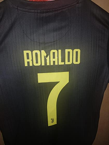 2018-2019 Away Home C Ronaldo #7 Juventus Kids Youth Soccer Jersey & Shorts & Socks Black Poor quality..