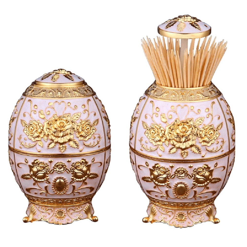 Babyprice Unique Automatic Toothpick Dispenser Golden Rose Embossed Round Royal Toothpick Box Holder for Home and Restaurants