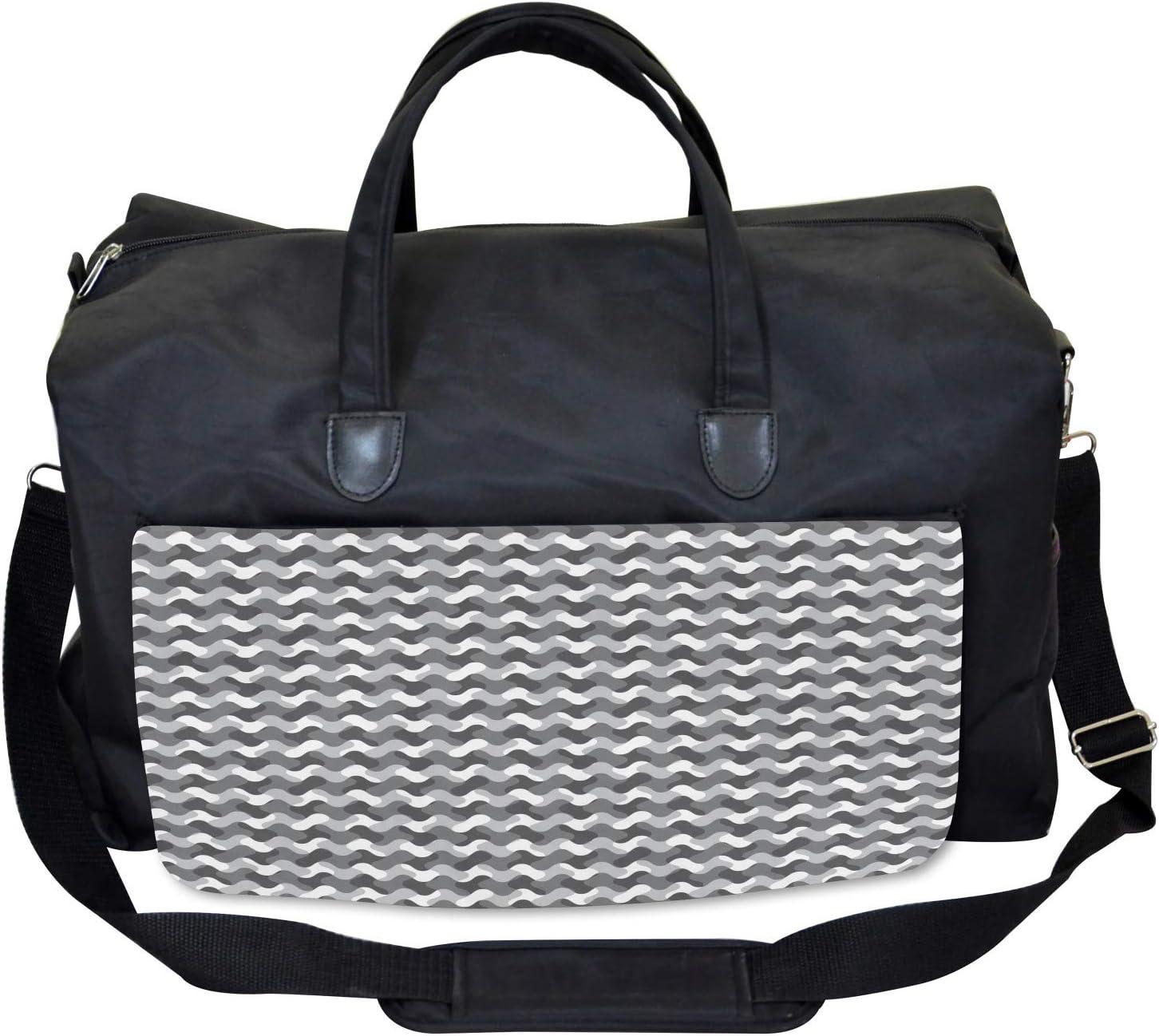 Ambesonne Gym Bag Large Weekender Carry-on Gradient Retro Lines