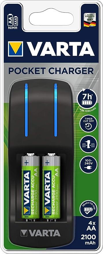 Chargeur Varta Pocket Charger pour un maximum de 4 AA AAA piles (incl. 4 piles AA, 2100 mAh)