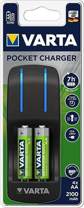 Varta Easy Energy Pocket - Cargador de pilas para 4 pilas recargables AA/AAA, 2100 mAh