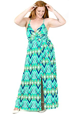 Plus Size Cami Strap Chevron Print Faux Wrap Maxi Dress ...