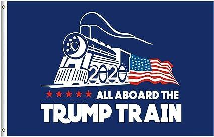 "5 x /""TRUMP TRAIN/"" flag 3x5 ft polyester 2020 all aboard maga"