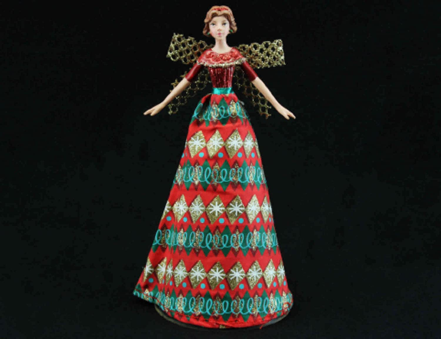 Traditional Resin and Red Fabric Festive Tree Top Fairy / Angel Gisela Graham