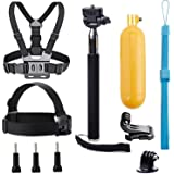 VVHOOY Universal Action Camera Accessories Bundle Kits Head Strap + Chest Belt Strap +Handle Monopod +Floating Hand Grip Compatible with Underwater 1080P&4K Waterproof Action Camera Accessories