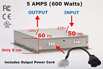 PowerXchanger XS-05SS Slimline Series Smart Voltage & Frequency Converter & Transformer, Sealed, Solid-State Electronics, 5 Amps (600 Watts) Continuous Power, UL, CE, FCC & IEC Standards