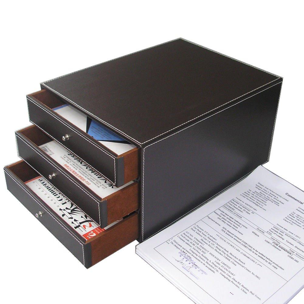 KINGFOM School Office Supplies Desktop 3 Drawer Files Organizer Leatherette A4 Files/Documents Cabinet / Print Paper Filing Holder/ Jewelry Organizer Box