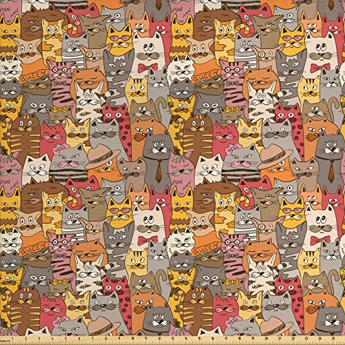 Ambesonne Cat Fabric by the Yard, Psychedelic Colorful Pattern with Funny Kittens Abstract Vintage Mascots Bizarre Comic, Decorative Fabric for Upholstery and Home Accents, Multicolor