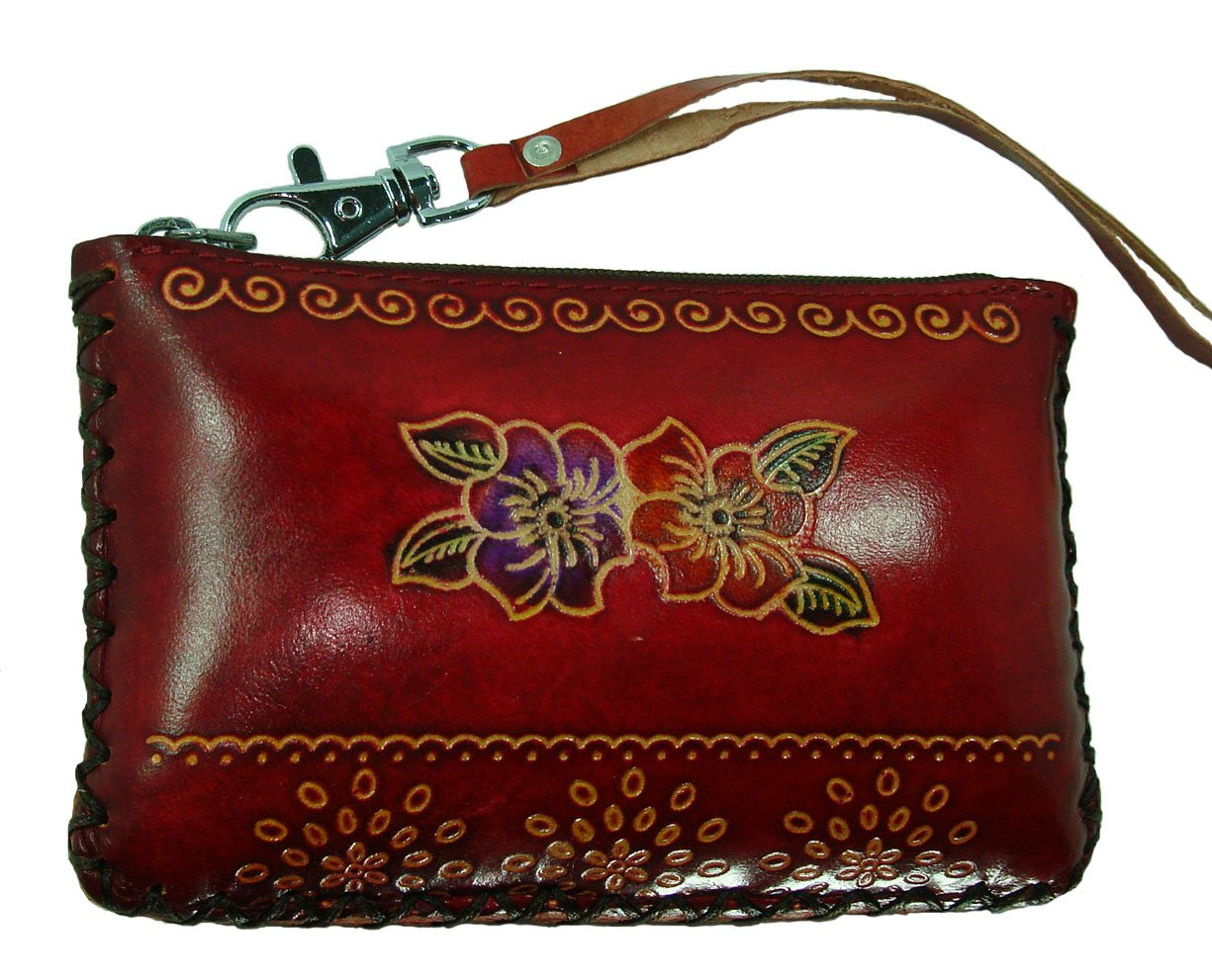 Hand Made Leather Change/coin Purse, Rectangle Shape, Lovely Flower Embossed, a Mini Wristlet Wallet, Collectible. (Red)