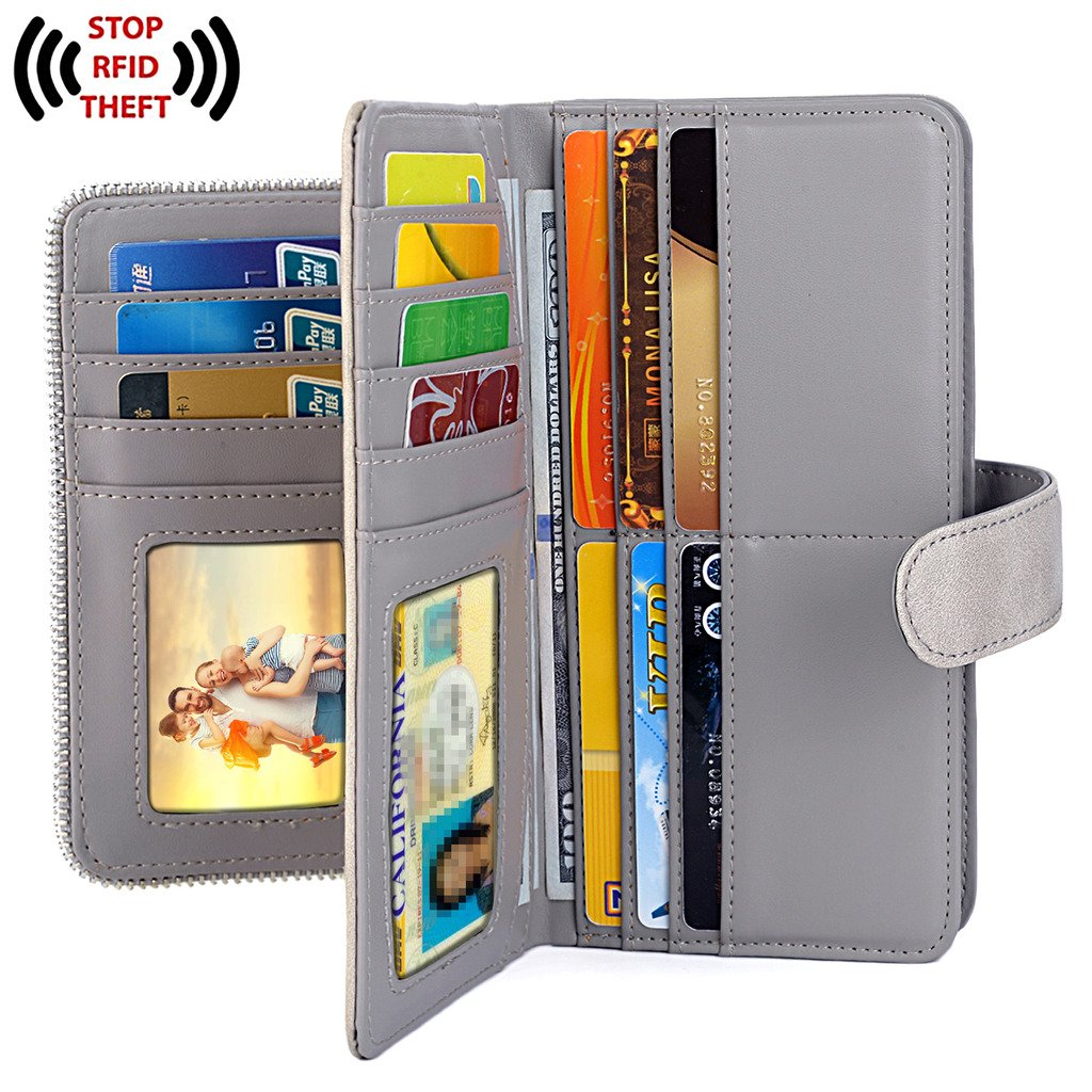 UTO Women PU Leather Wallet RFID Blocking Large Capacity 15 Card Slots Smartphone Holder Snap Closure D Grey by UTO (Image #3)