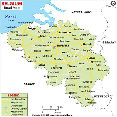 Amazoncom Belgium Highway Map 36 W x 3609 H Office Products