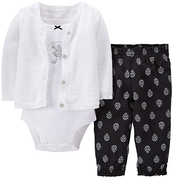 d424dfd7f Amazon.com  Carter s Baby Girls  3 Piece Cardigan Set (Baby) - White ...