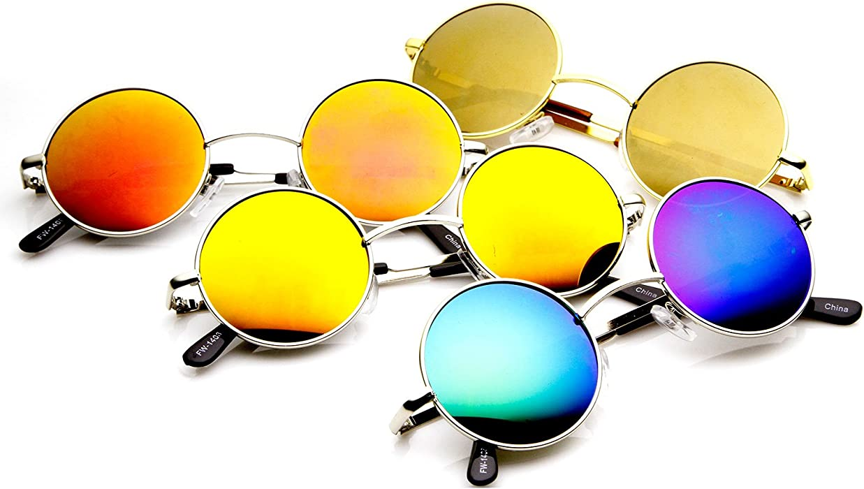 ed71b16b89304 Retro Round Sunglasses for Men Women with Color Mirrored Lens John Lennon  Glasses