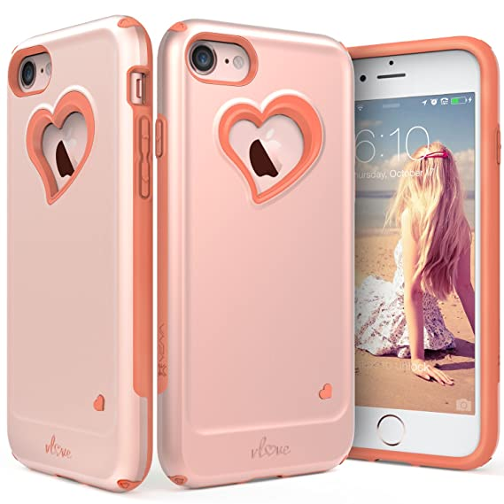 newest e16a1 e416a iPhone 8 Case, iPhone 7 Case, Vena [vLove][Heart-Shape | Dual Layer  Protection] Hybrid Bumper Cover for Apple iPhone 8, iPhone 7 (4.7