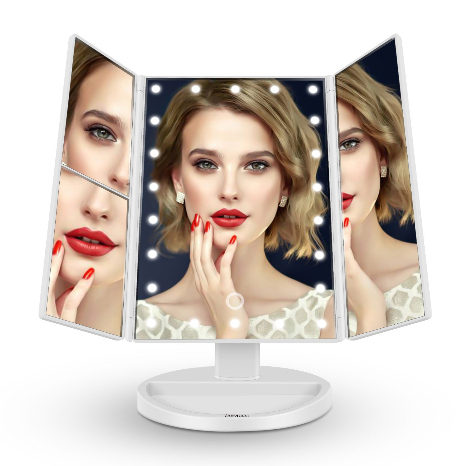 butyface Makeup Mirror with Lights, Lighted Vanity Mirror with 10x/3x/2x Magnification,Trifold Mirror with 21 Led Lights,Touch Screen, 180° Rotation,Dual Power Supply, Countertop Cosmetic Mirror