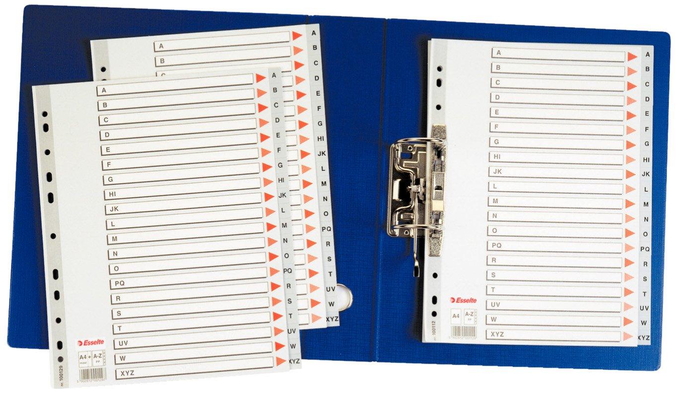Rinforzo in mylar Formato A4 Polipropilene Esselte Rubrica alfabetica Grigio,100112