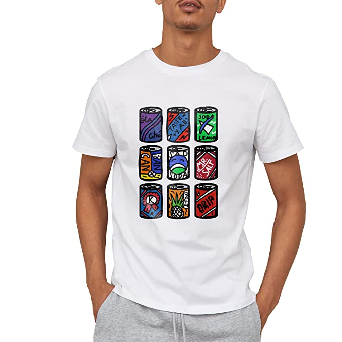 05ed47066e07 Amazon.com: Cola cans Art Creative Illustration Casual Short Sleeve ...