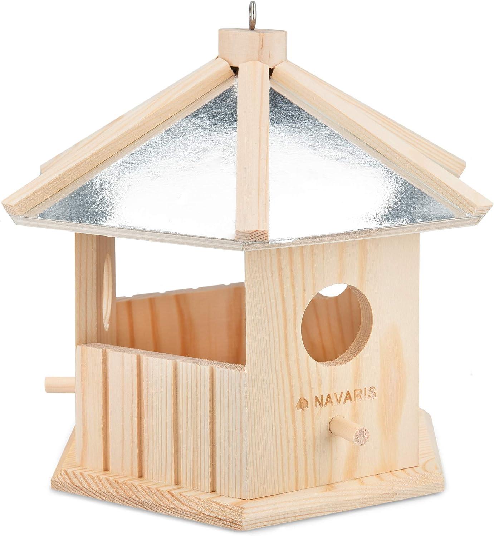 Navaris Casita para pájaros de Madera - Casa comedero de Exterior para observar Aves Silvestres - Caseta pajarera Colgante para jardín o balcón