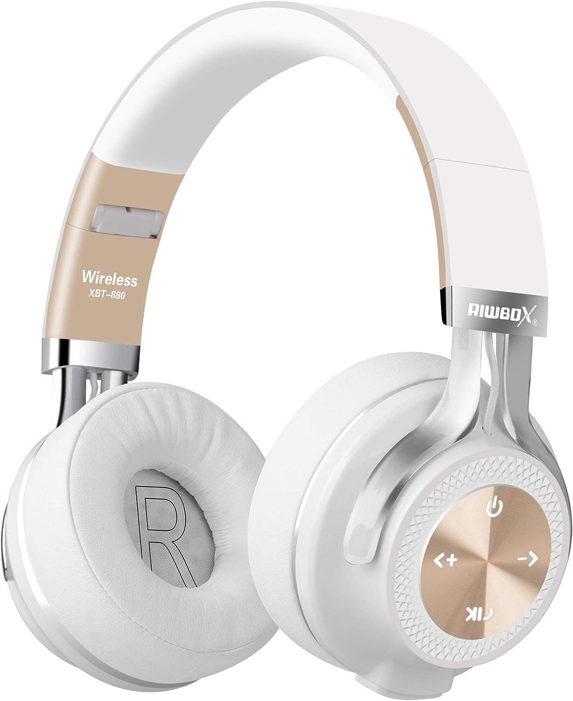Riwbox XBT-880 - Auriculares inalámbricos Bluetooth para iPhone, iPad, PC, teléfonos móviles y TV (micrófono y Control de Volumen, inalámbricos y con Cable) White&Gold