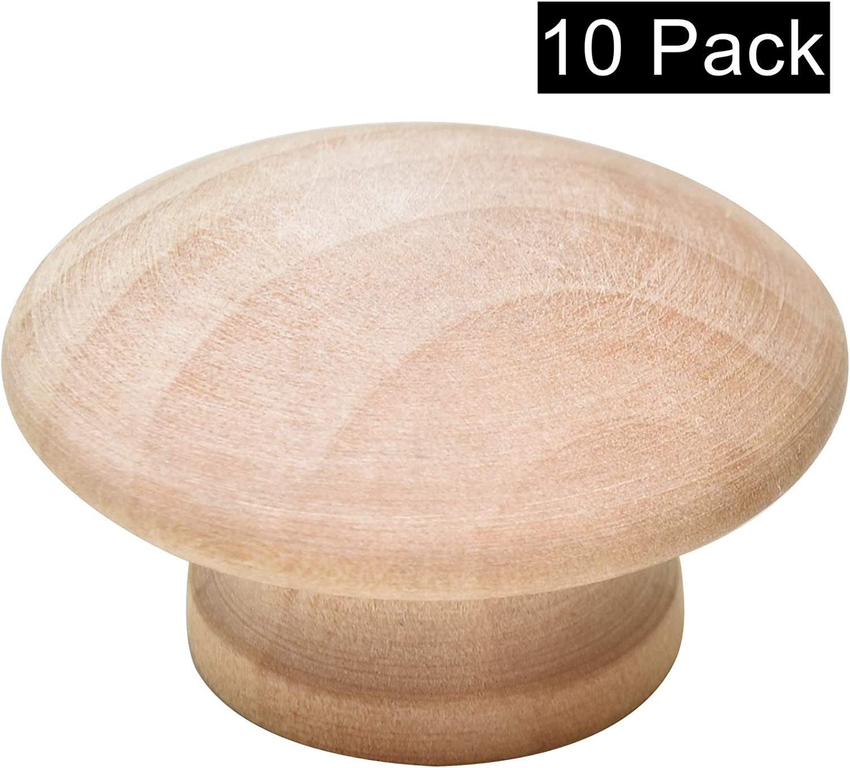"Silverline Round Wood Drawer Knob 1-1/2"", Unfinished Cabinet Pulls Handles Hardware for Drawer Wardrobe Dresser, 10 Pack"