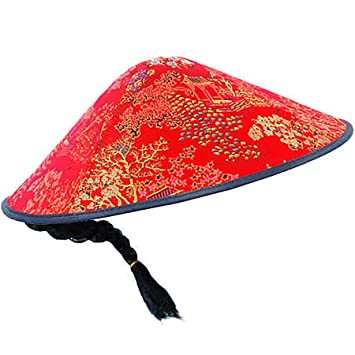 Card and Party Store Red Oriental Chinese Cone Coolie Hat Plait Fancy Dress  Asian Panto Kids d7d5af27a497