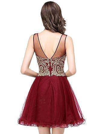 MisShow 2019 Women's Cocktail Dresses Crystals Applique Short Prom Dresses