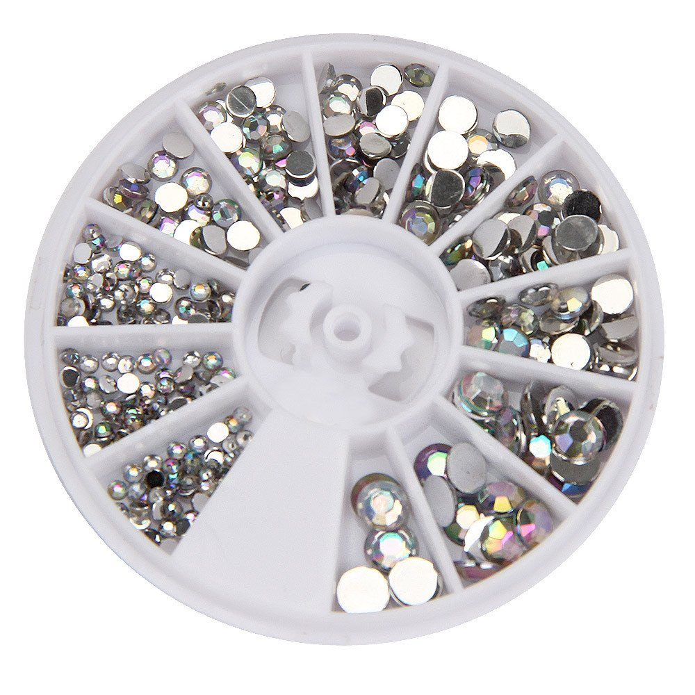 Glitter Nail Art Decorations Round 3D Acrylic Nail Art Gems Crystal Rhinestones DIY Decoration Wheel Nails Accessories D30109 Silver by DKjiaoso