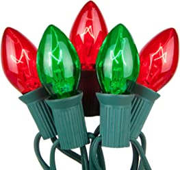 Wintergreen Lighting Incandescent Commercial Christmas String Light Sets (50 Lights, 25 Ft, Red and Green C7 Bulbs)