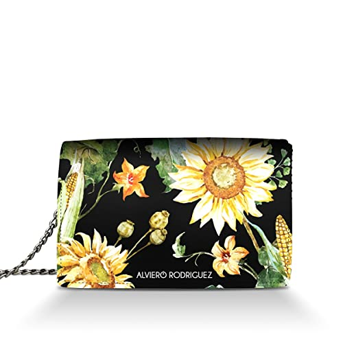 0c770d20aa Alviero Rodriguez Borsa Donna Sunflowers Girasoli Giallo Piante in Vera  Pelle (Catena Argento): Amazon.it: Scarpe e borse