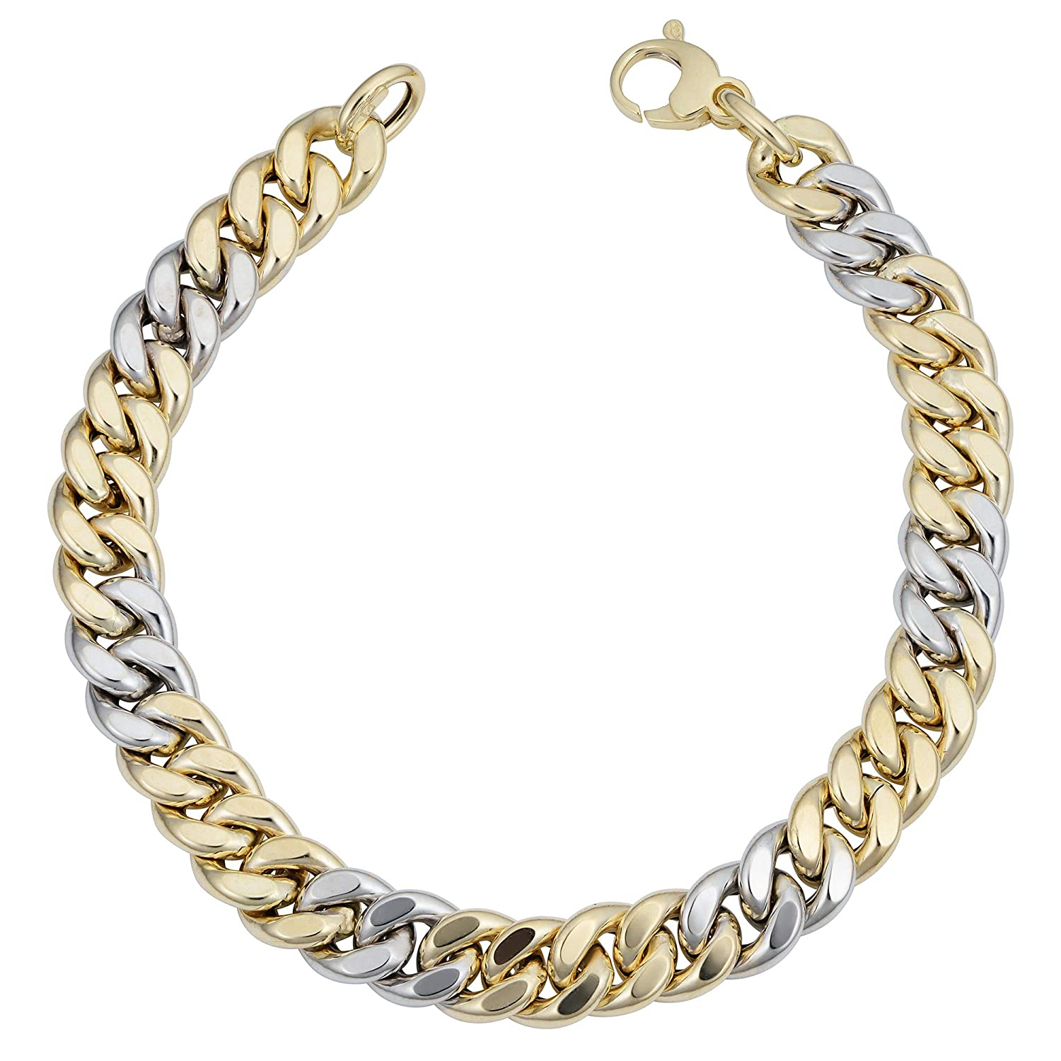 83431f3f2d1ca Amazon.com: 14k Yellow And White Gold Miami Cuban Curb Hollow Link ...