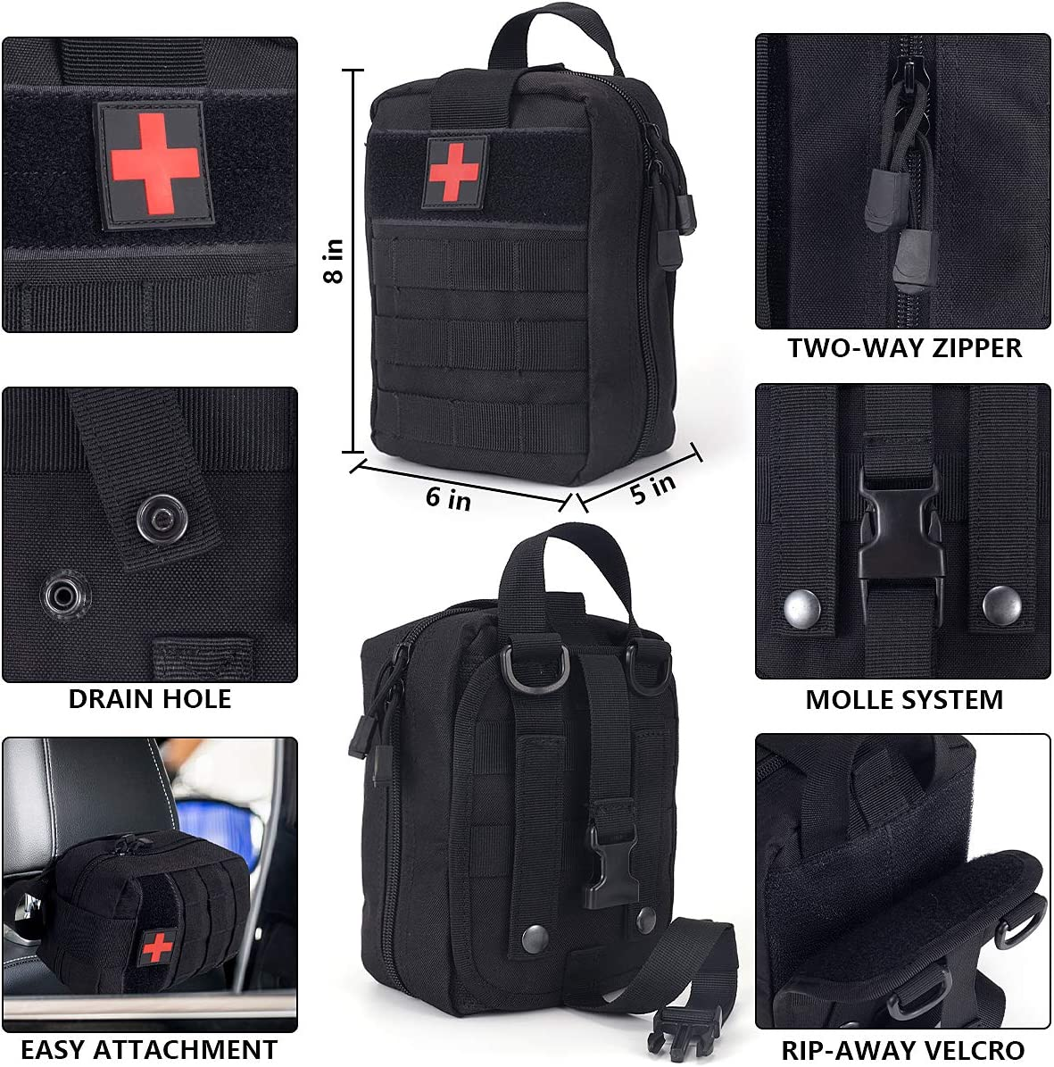 Survival First Aid Kit Molle System Compatible Outdoor Gear Emergency Kits Trauma Bag for Camping Boat Hunting Hiking Home Car Earthquake and Adventures : Sports & Outdoors