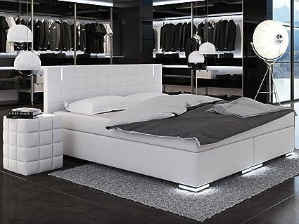 SAM® cama de diseño con somier Berlin con Samo Lux® Funda en blanco ...