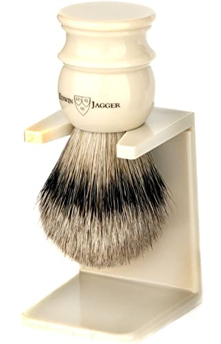 Edwin Jagger Large Silver Tip Badger Hair Shaving Brush With Drip Stand – Imitation Ivory