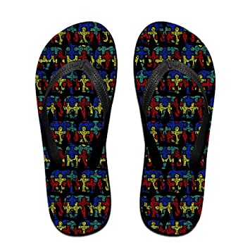 Unisex Non-slip Flip Flops Elephant In Red Pattern Cool Beach Slippers Sandal