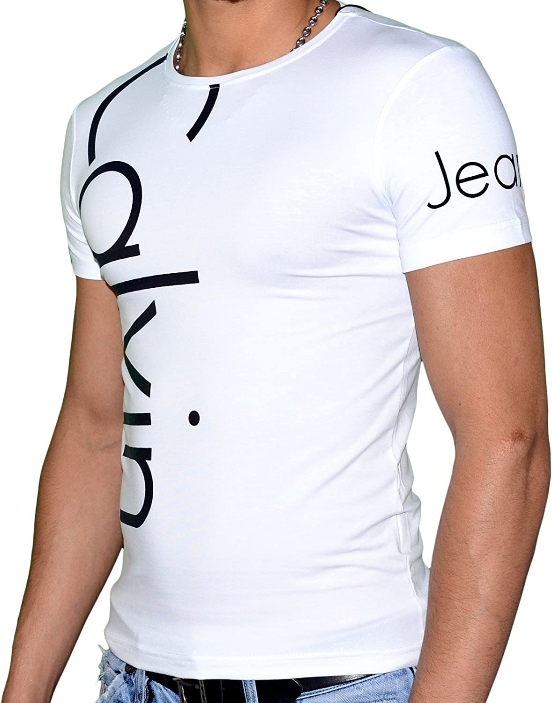 Calvin Klein Jeans - La camiseta de manga corta BLANCA / NEGRO - tres logotipos (M, BLANCA / NEGRO): Amazon.es: Ropa y accesorios