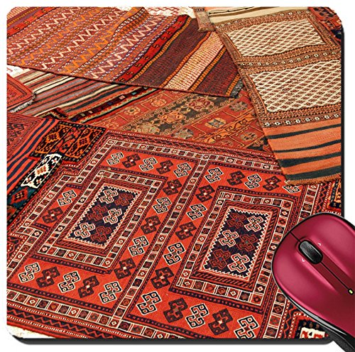 Liili Suqare Mousepad 8x8 Inch Mouse Pads/Mat Overlapping carpets with intricate Kurdish patterns in rug store in Istanbul Turkey - Turkey In Stores