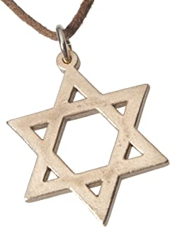 product image for Star of David Peace Bronze Pendant Necklace on Adjustable Natural Fiber Cord