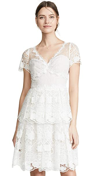 Marchesa Notte Womens Floral Eyelet Tiered Cocktail Dress